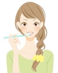 3-歯歯を磨く女性のイラスト-