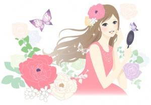 花に囲まれた女の子
